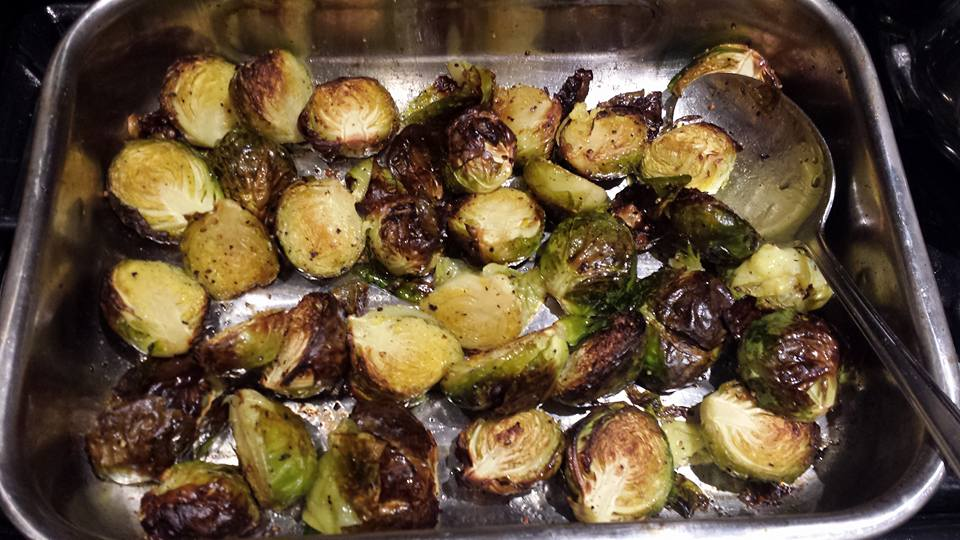 Sprouts in roasting pan